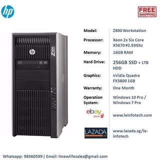 HP Z800 Workstation 2x Six Core X5670 16GB 256GB SSD 1TB Quadro FX3800 Win 10/7