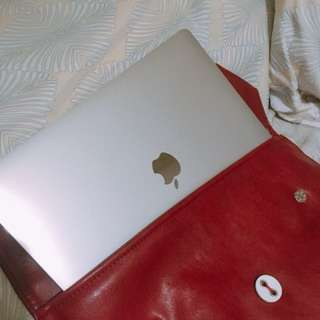 "13"" Macbook/ laptop burgundy leather case sleeve"