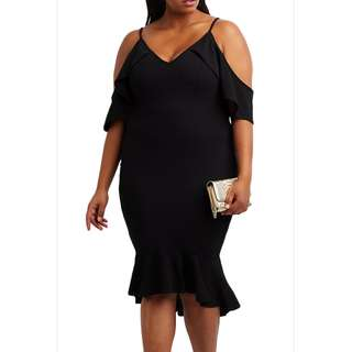 PRE-ORDER - Plus Size Black Sexy Cut Off Ruffle Shoulder Mermaid Bodycon Dress