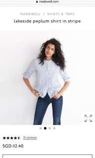 Madewell Lakeside Peplum Shirt in Stripe XXS XS