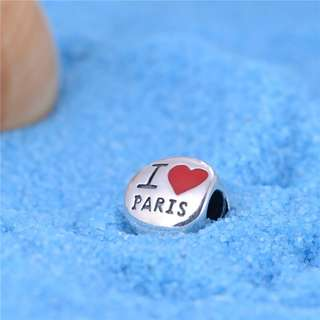 Code S87, I Love Paris 100% 925 Sterling Silver Charm compatible With Pandora