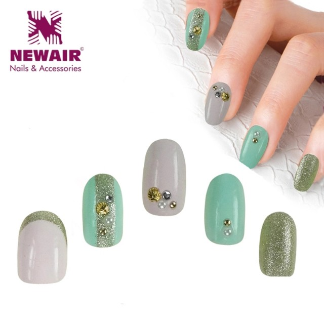 2016 New Arrival Oval Short Fake Nails With Glue 3D False Nail Art ...