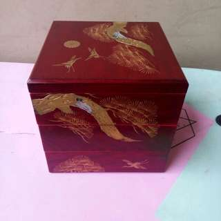Three layer japanese wooden box