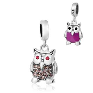 (OUT OF STOCK) Code S182 - Owl In 2 Two Sides 100 % 925 Sterling Silver Charm compatible with Pandora