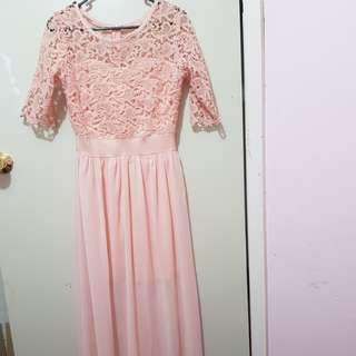 Pink lace long formal sleeve dress