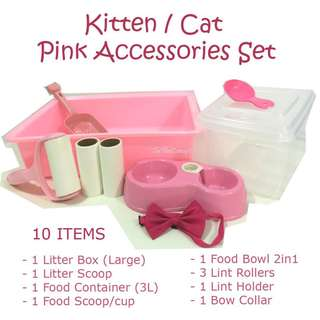 Cat / Kitten Accessories (PINK SET) 2 tier Cage accessories