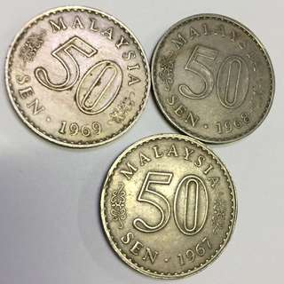 Sets of 3 for Malaysia 1st release 50cents coins