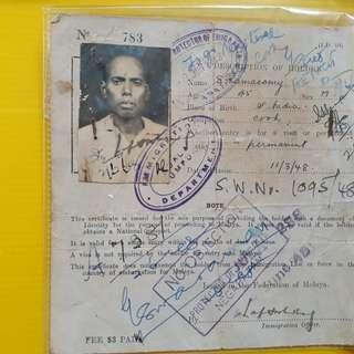 Vintage INDIA - 1948 - CERTIFICATE OF IDENTITY to Land in MALAYA / passeport / reisepass / passaporto /pasaporte