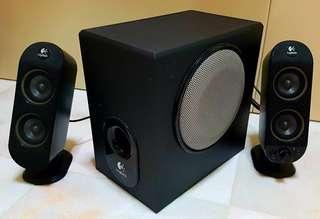 Logitech X-230 with 2 speakers, 23cm x 23cm x 13cm