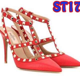 High Heels 9cm Studed Valentino Party Shoes Murah (ST17 Hitam & Merah)