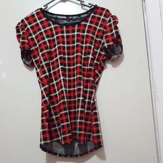 Checked short sleeve Chanel mesh short sleeve top