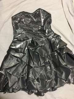 Strapless Ruffled Bubble Dress - Silver with Beadings and Star- Silky