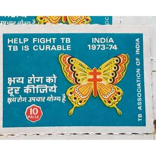 INDIA - HELP FIGHT TB , TB IS CURABLE - 1973 1974 - 10 Labels LOT