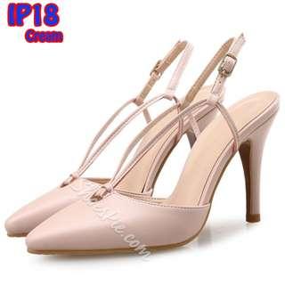 Sendal High Heels 9cm Tali Fashion (IP18) Hitam & Cream