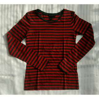Mango Dark Gray and Red Striped Long Sleeves