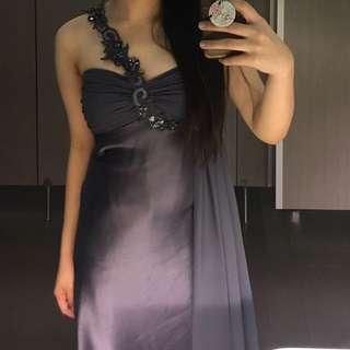 metallic grey/gray long gown