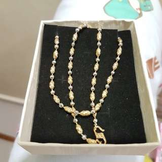 Korea 24k gold plated necklace two tone