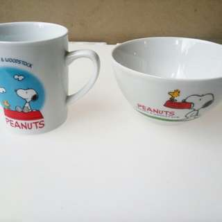 Snoopy bowl and coffee mug