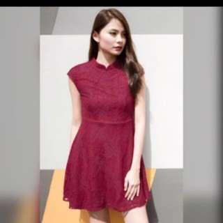 Red Oriental-Cheongsam Dress