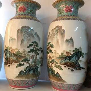 Vintage Pair Of Fine Chinese Famille Rose Porcelain Vases, Jingdezhen