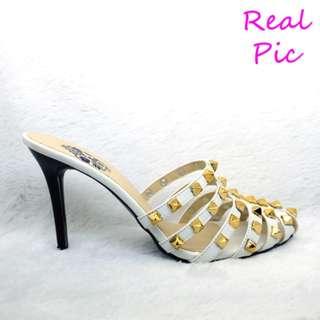 PREMIUM Sandal High Heels 9cm Hak Lancip RockStud 9cm (ST19 Putih)
