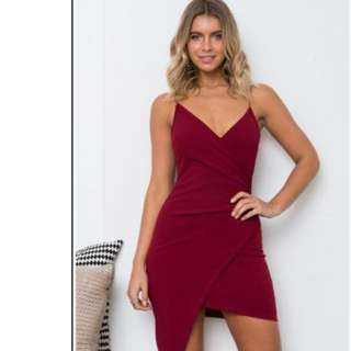 Asymmetric Maroon Dress