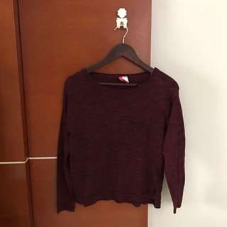 H&M - Maroon Sweater (with Mini Pocket)