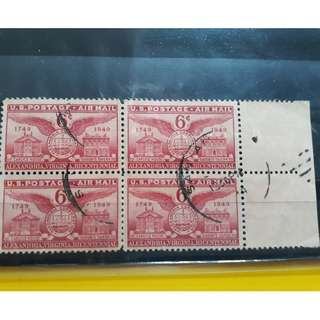 USA - 1949 - BLOCK OF 4  -  ALEXANDRIA VIRGINIA , BICENTENNIAL -  AIRMAIL - AEROPLANE - used Stamp