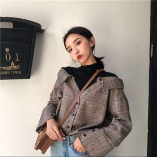[PO] Retro High Neck fake two piece plaid shirt