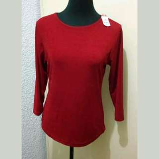 WA395 Impressions of California Dark Red Long Sleeve Blouse