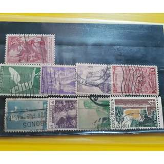 USA - VINTAGE - Mixed used Stamp - 9 Pieces