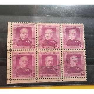 USA -  vintage BLK OF 6 - SAMUEL GOMPERS -  used Stamp