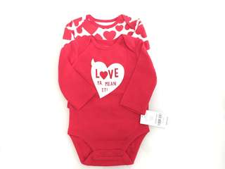 BNWT Carter's 2pc Cotton Hearts Bodysuits
