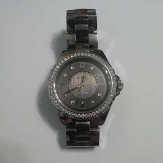 CHANEL  J12手錶(不鏽鋼鑲鑽灰色自動機芯)