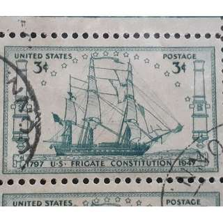 USA - 1947 - BLOCK OF 4  - FRIGATE CONSTITUTION - used Stamp