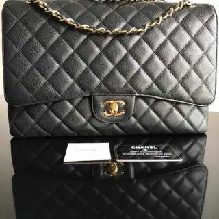 Authentic Chanel black caviar single flap
