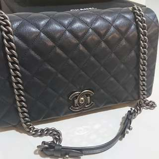 Chanel city rock navy blue calf leather