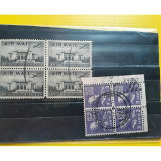 USA - vintage - BLOCK OF 4 x 2 -  AIRMAIL - AEROPLANE - used Stamp