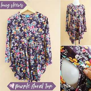 Nursing long Top long sleeves purple floral print