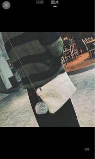 [P.O] Furry Ball Sling Bag