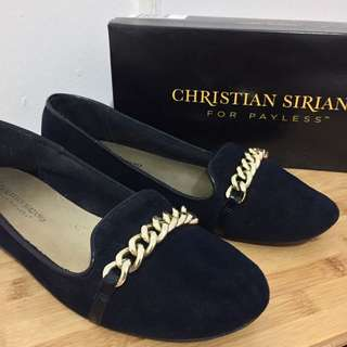 Navy blue suede loafers with stylish chain ✨