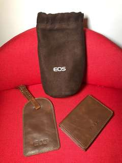 Original Canon EOS accessories - luggage tag , card holder and lens pouch