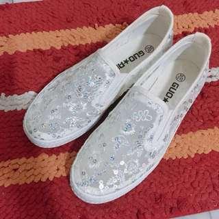 亮片紗網厚底平底鞋