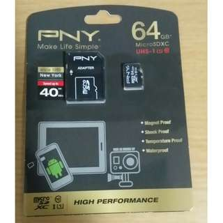PNY 64GB High Performance microSDXC UHS-1 Class 10 Memory Card with Adapter