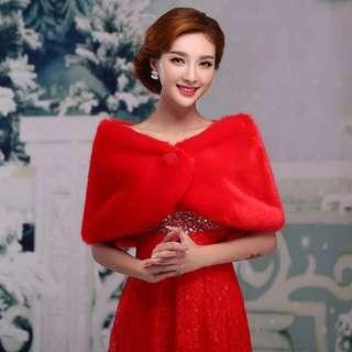 新款婚纱披肩新娘结婚毛披肩春秋红色礼服伴娘婚礼披肩