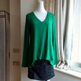 MOMA 鮮綠 假兩件 珍珠毛呢棉質彈性洋裝