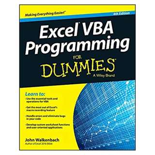 Excel VBA Programming For Dummies 4th Edition BY John Walkenbach