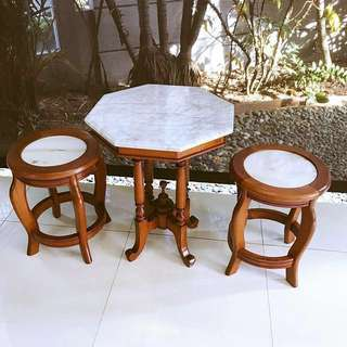 Peranakan Marble Table and stools