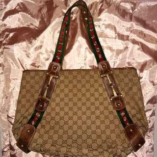 Preloved Brown GG Canvas Pelham Tote Bag