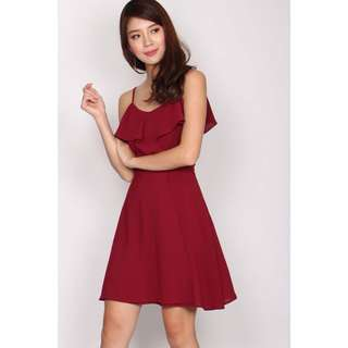 TDC JOLYNN FLUTTER 2 WAYS DRESS IN WINE RED
